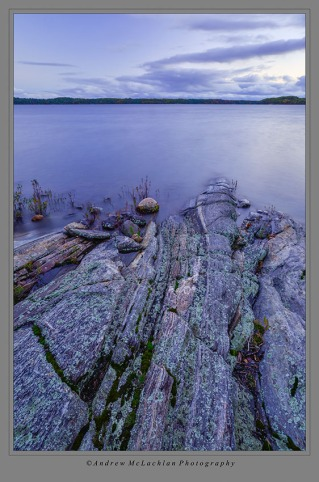 In-camera HDR along Georgian Bay. Parry Sound, Ontario. Nikon D800, Nikon 18-35mm lens, ISO 64, f22 @ 13 seconds.
