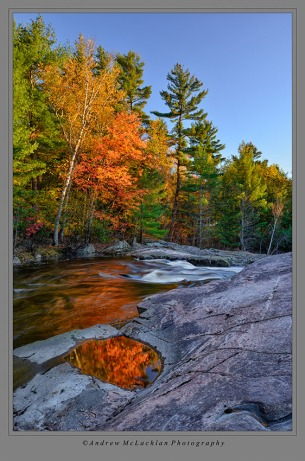 Last Light at Rosseau River. Muskoka Ontario. Nikon D800, Nikon 18-35mm lens, ISO 100, f16 @ 0.6 seconds.