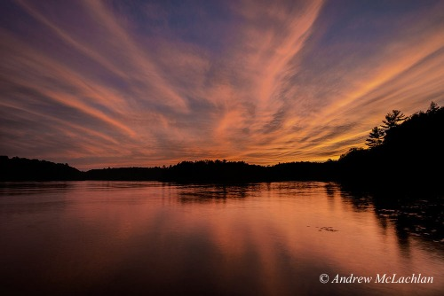 Horseshoe Lake at Sunset, Parry Sound, Ontario, Canada Nikon D800, Nikon 18-35mm lens @ 19mm ISO50, f16 @ 1.6 sec.
