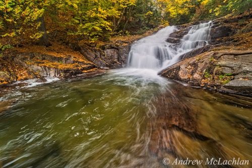 Autumn color at Hatchery Falls, Muskoka, Ontario, Canada Nikon D800, Laowa 15mm Macro Lens ISO 100, f16 @ 0.8 sec. Singh Ray Thin Mount Warm-Tone Polarizing Filter